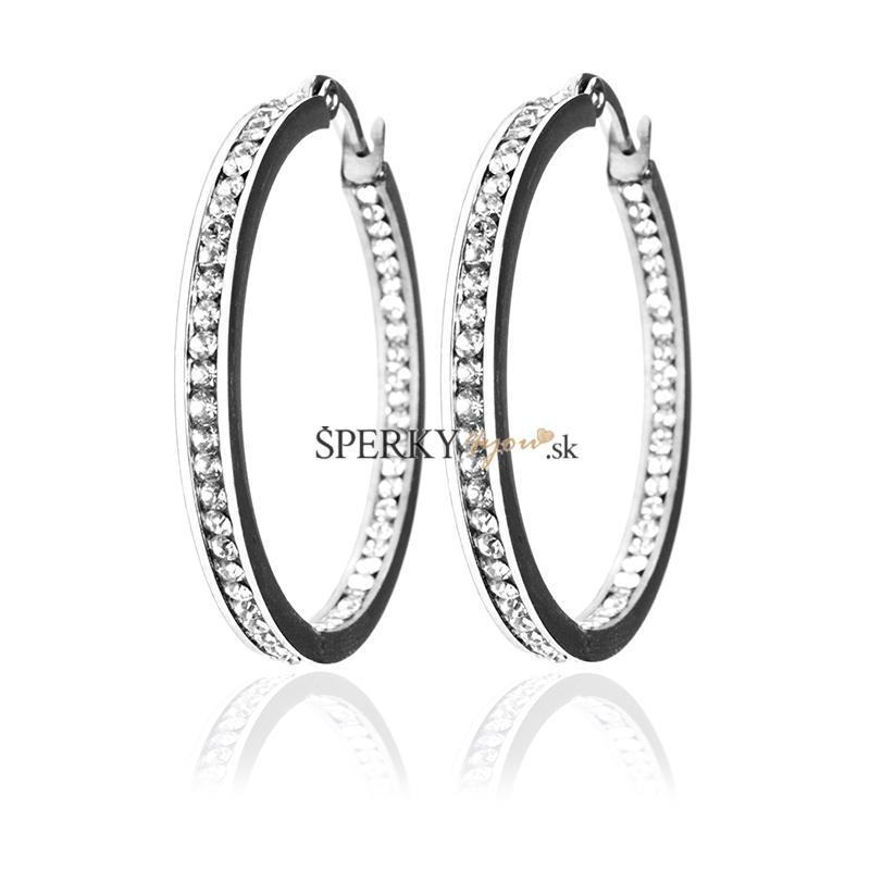 4b23f5d94 Náušnice kruhy so zirkónmi 2,9 cm z chirurgickej ocele S138120 ...